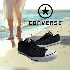 Black shimmery unisex converse
